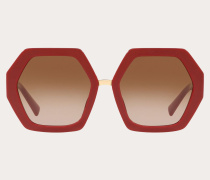 VALENTINO Hexagonale Oversize-Sonnenbrille aus Acetat Vlogo