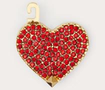 VALENTINO GARAVANI Herzförmiger Anhänger Call Me Valentino aus Metall und Kristallen