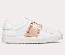 Sneakers Rockstud Untitled aus Kalbsleder mit Streifen in Metallic-Optik