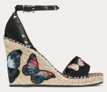 Valentino Garavani Wedges Rockstud aus Canvas mit Schmetterlingsstickerei