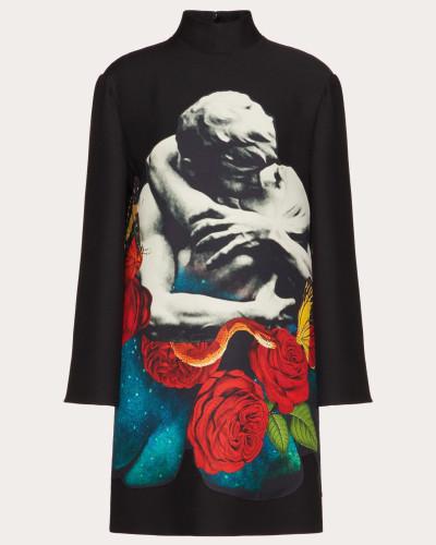 Valentino Kleid aus Crêpe Couture mit Appliziertem Undercover Print