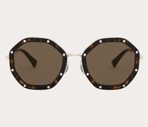 VALENTINO Achteckige Sonnenbrille aus Metall mit Kristallen