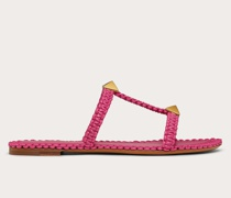 VALENTINO GARAVANI Flache Slider-sandalen Roman Stud mit Makramee