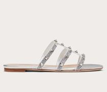 VALENTINO GARAVANI Flache Slider-sandalen Rockstud aus Kristallgewebe