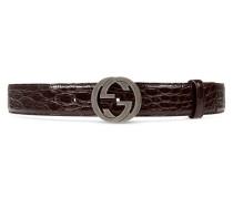 Gürtel mit GG Schnalle aus Krokodilleder
