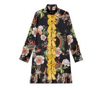Kleid mit Drachen- und Blumen-Print