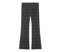 Bootcut-Hose aus karierter Wolle mit Herzen