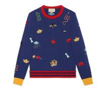 Pullover aus Wolle mit Stickereien