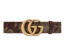 Gürtel aus Leder mit Ramage-Detail und GG Schnalle