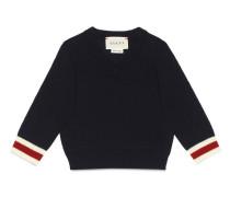 Baby Pullover aus Merinowolle mit V-Ausschnitt und Webdetail