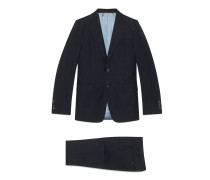 Anzug aus Wollgabardine mit gerader Passform und Bienen