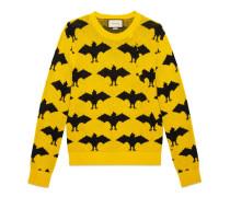 Pullover mit rundem Ausschnitt aus Fledermaus-Jacquard