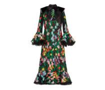 Kleid aus Organdy-Jacquard mit Blumen-Motiv und Spitze
