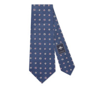 Krawatte aus Seidensablé mit Blumenmuster