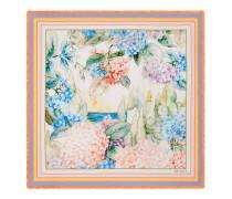 Halstuch aus Seidensablé mit Hortensien-Print