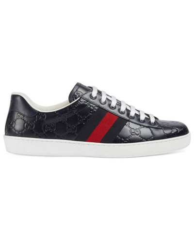 a615b135ce Billig Zuverlässig Gucci Herren Ace Sneaker aus Gucci Signature Günstig  Kaufen Perfekt Versand Outlet-Store