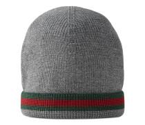 Hut mit Webstreifen aus Wollstrick