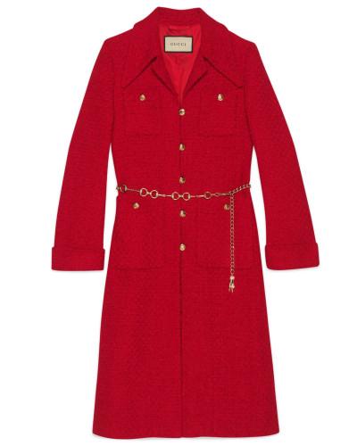 Mantel aus Tweed mit Horsebit-Gürtel