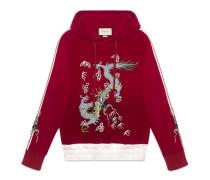 Pullover aus Samt mit Drachen-Applikation