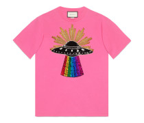 T-Shirt aus Baumwolle mit UFO und Pailletten
