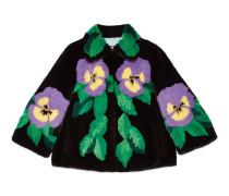 Mantel aus Nerzfell mit Stiefmütterchen-Intarsie