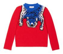 Kinder Pullover aus Merinowolle mit Tiger