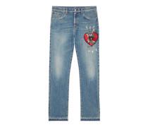 Gerade geschnittene Jeanshose mit Stickerei