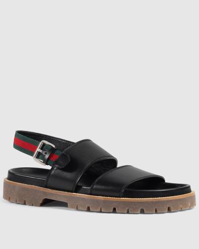 gucci herren sandale aus leder reduziert. Black Bedroom Furniture Sets. Home Design Ideas