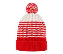 Mütze aus gestreiftem Wollstrick