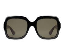 Extragroße Sonnenbrille mit quadratischem Rahmen aus Azetat mit Webstreifen
