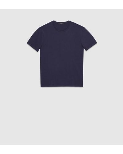 gucci herren t shirt aus baumwolljersey mit gucci wappen aus leder 50 reduziert. Black Bedroom Furniture Sets. Home Design Ideas