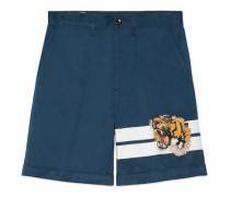 Shorts aus Gabardine mit Tiger