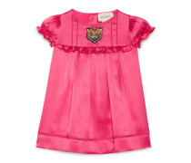 Baby satin dress with tiger