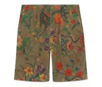 Shorts aus Baumwolle mit Flora Snake-Print