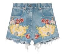 Shorts aus Denim mit Stickerei