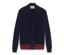 Cardigan-Pullover mit Zopfmuster und Webstreifen