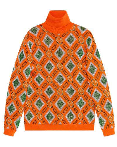 Pullover aus Woll- und Lamé-Jacquard