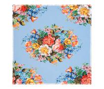 Halstuch aus Seidensablé mit Blumenmuster