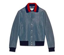 Jacke aus Leder mit Stickereien