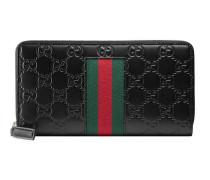 Brieftasche aus Gucci Signature mit Rundumreißverschluss und Webstreifen