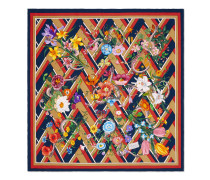 Halstuch aus Seide mit Flora Snake Chevron-Print