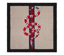 Schal aus GG Seide mit Webdetail und Schlangen-Print