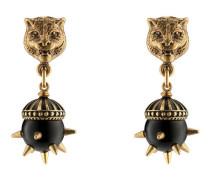 Ohrringe mit Felinekopf und Kunstharzperlen