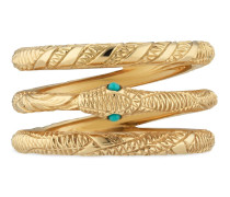 Dreifacher Ouroboros-Ring aus Gelbgold