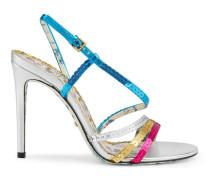 Sandale aus Metallic-Leder mit Pailletten