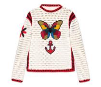 Pullover aus Baumwolle mit Häkeldetail mit rundem Ausschnitt
