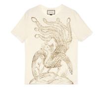 T-Shirt aus Leinen mit Paradiesvogel-Print
