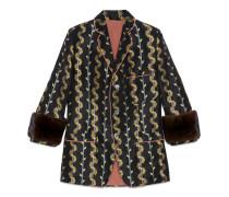 Jacke aus Farn-Jacquard mit Fell