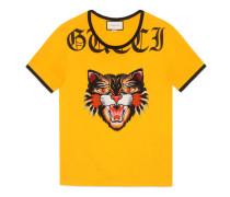 T-Shirt aus Baumwolle mit Katzen-Applikation