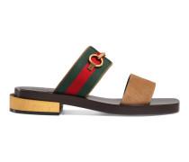 Sandale aus Veloursleder mit Horsebit